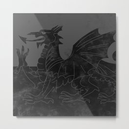 Black Wales Flag Metal Print