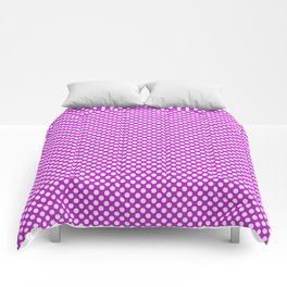 Dazzling Violet and White Polka Dots Comforters