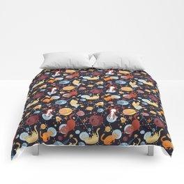 Cat astronaut seamless pattern Comforters