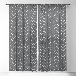 Mudcloth Big Arrows in Black and White Sheer Curtain