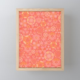 Living coral flower pattern Framed Mini Art Print