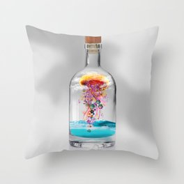 Electric Jellyfish Worlds in  a Bottle Throw Pillow