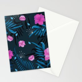 Retro 80's Night Time Floral Red Rose Botanical Fern Leaves Stationery Cards