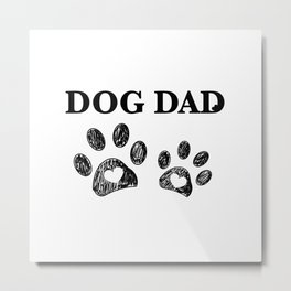 Paw print with hearts. Dog dad text. Happy Father's Day background Metal Print