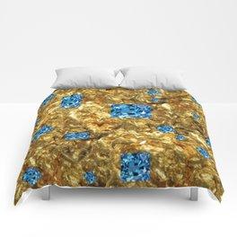 FACETED BLUE  TOPAZ GEMSTONES ON GOLD Comforters