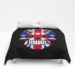 Sugar Skull with Roses and the Union Jack Flag Comforters