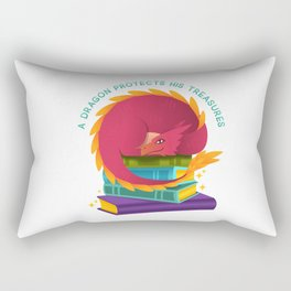 A Dragon Protects His Treasures (books) Rectangular Pillow