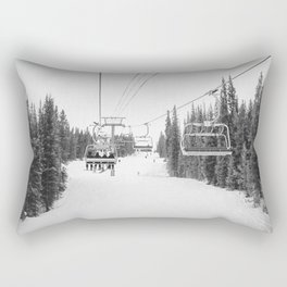 Ski Chair Lift B&W \\ Deep Snow Season Pass Dreams \\ Snowy Winter Mountains Landscape Photography Rectangular Pillow
