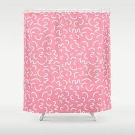 By CharlotteWinter 68996899 1980s Abstract Memphis Pattern Trendy Modern Print Pink Black And Blue Shower Curtain