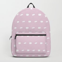 White sewing over pink background seamless surface pattern, broken horizontal lines Backpack