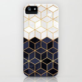White & Navy Cubes iPhone Case