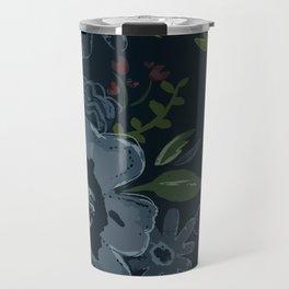 Moody Blues Floral Pattern Travel Mug