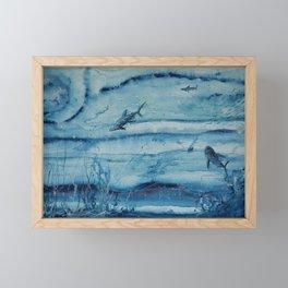 Sharks in deep blue Framed Mini Art Print