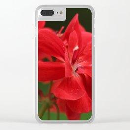 Red Geranium Flowers Clear iPhone Case