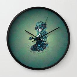 Sugar skull girl in blue Wall Clock