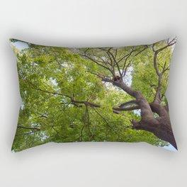 Bottom view of a crown of a huge green tree Rectangular Pillow