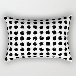 Black and White Minimal Minimalistic Polka Dots Brush Strokes Painting Rectangular Pillow