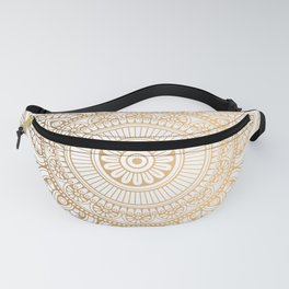 Gold Mandala Pattern Illustration With White Shimmer Fanny Pack