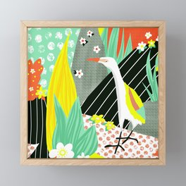 Egret Bird Contemporary Collage Framed Mini Art Print
