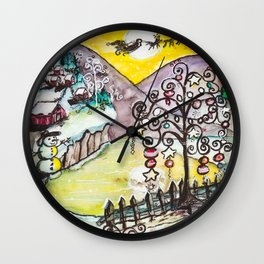 Ice Lake Christmas Wall Clock