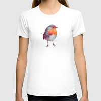 robin T-shirts featuring Winter Robin by Amy Hamilton