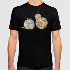 CAT AND DROID Mens Fitted Tee SMALL Black