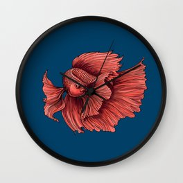 Coral Siamese fighting fish Wall Clock