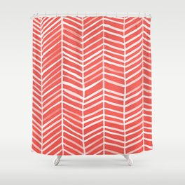 Coral Herringbone Shower Curtain