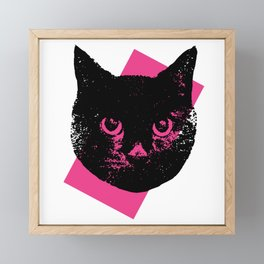 Black Cat, Color Block Pink Framed Mini Art Print