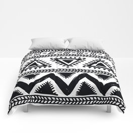 Tribal black and white Comforters