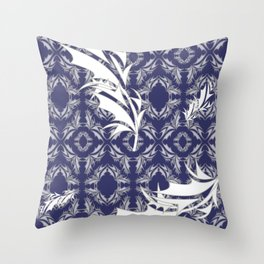 Silver and White Feathers Motif (Navy) Throw Pillow