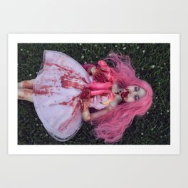 Zombie Flamingo Girl Art Print