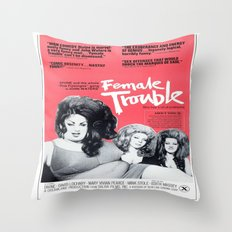 Vintage Female Trouble Movie Poster Throw Pillow