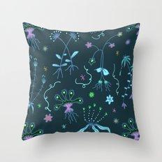 Blue Flora of Planet Hinterland Throw Pillow
