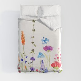colorful wild flowers watercolor painting Duvet Cover