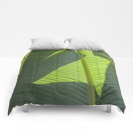 Green Tropical Leaves: Sunlight and Shadows Comforters