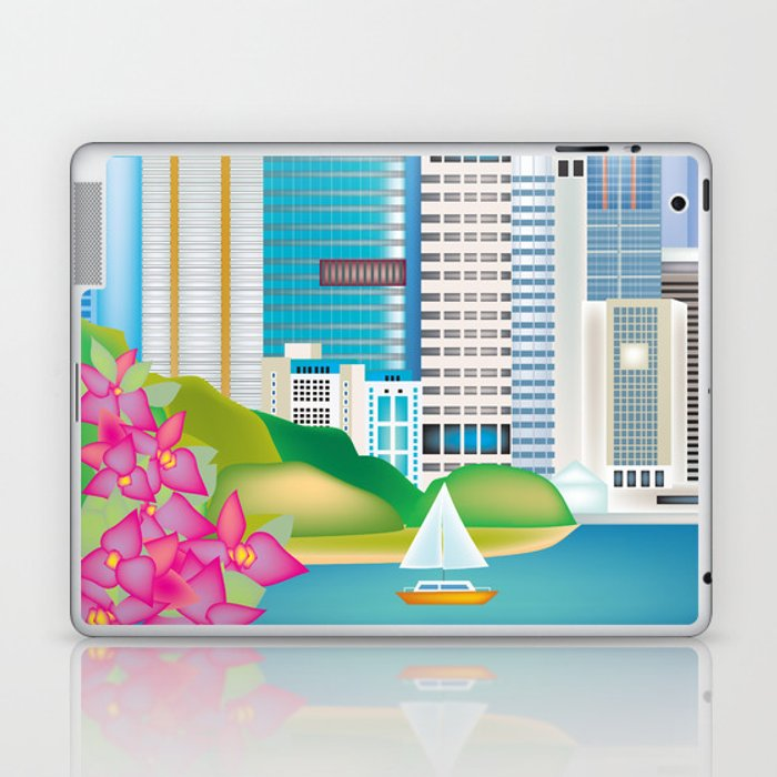 Brisbane, Australia - Skyline Illustration by Loose Petals Laptop & iPad Skin