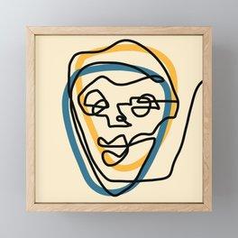 Blue Face Framed Mini Art Print