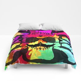 old vintage funny skull art portrait with painting abstract background in red purple yellow green Comforters