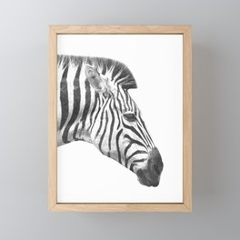Black and White Zebra Profile Framed Mini Art Print