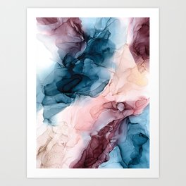 Pastel Plum, Deep Blue, Blush and Gold Abstract Painting Art Print