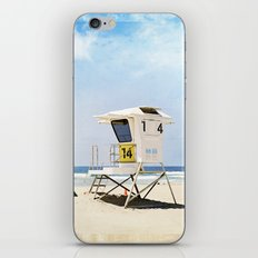 California Beach Photography, Lifeguard Stack Shack San Diego, Coastal Photograph iPhone & iPod Skin
