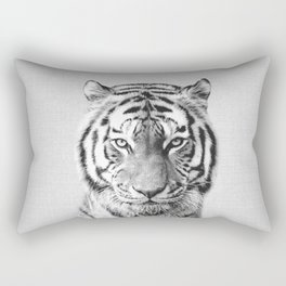 Tiger - Black & White Rectangular Pillow