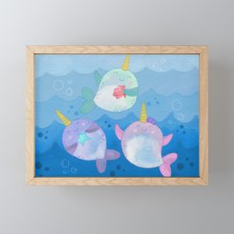 Playful Narwhals Framed Mini Art Print