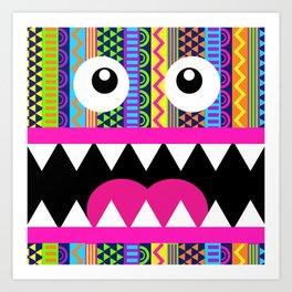 Aztec Pattern Crazy Face Art Print