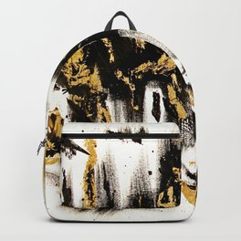 Modern abstract hand painted black gold foil acrylic paint brushstrokes Backpack