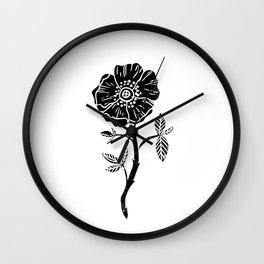 Linocut Rose floral single stem flower black and white printmaking Wall Clock