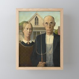 American Gothic by Grant Wood Framed Mini Art Print