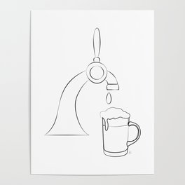""""""" Kitchen Collection """" - Beer Pour Machine Pouring Glass Poster"""