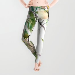Chickadees and Dogwood Flowers Leggings